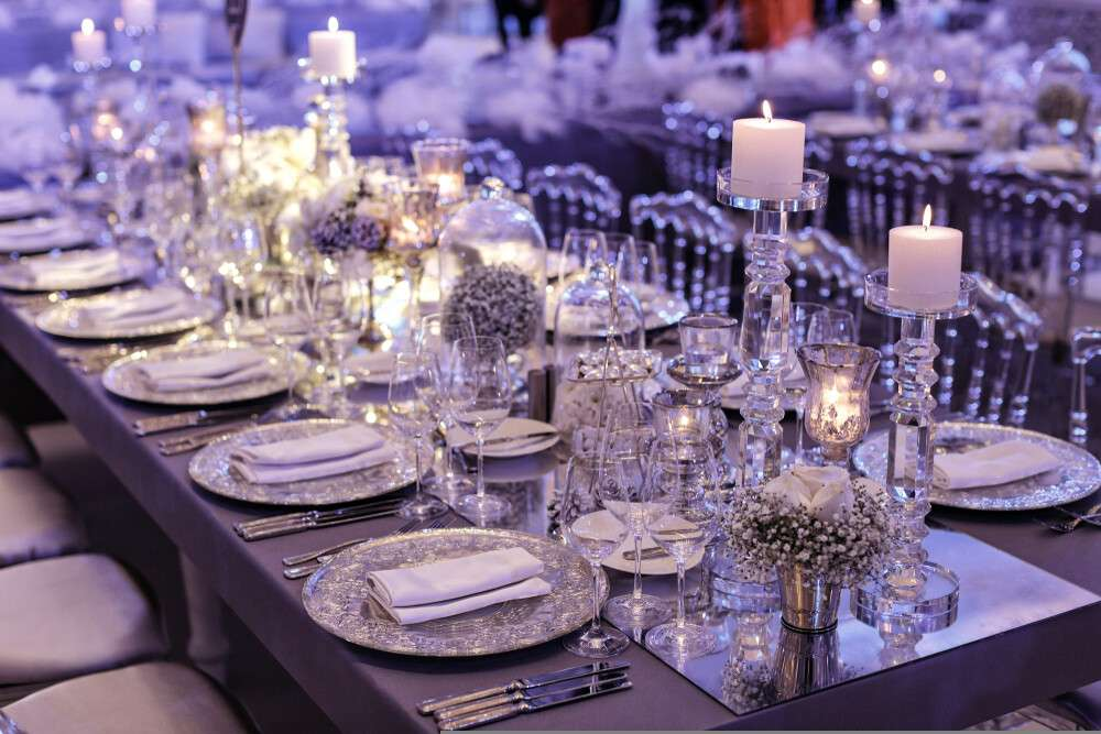 Hochzeitskerzen, Tischgestaltung und Dekoration